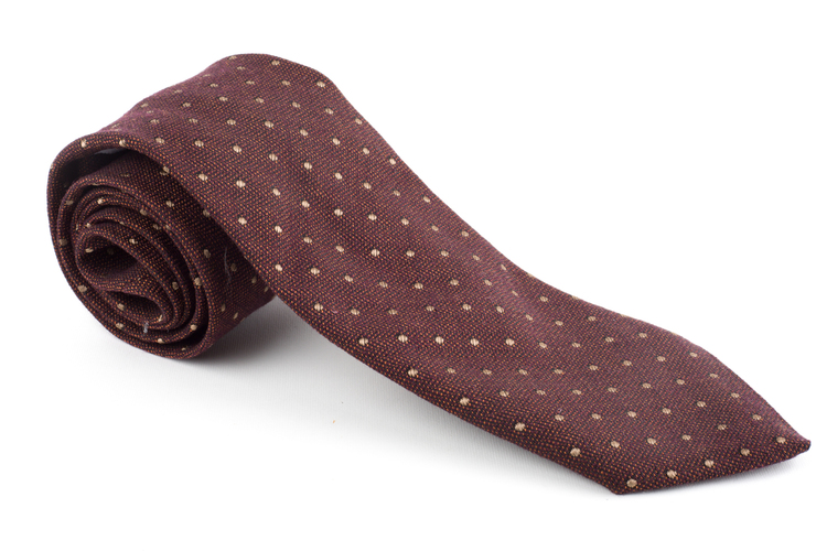 Wool Polka Dot - Burgundy/Beige
