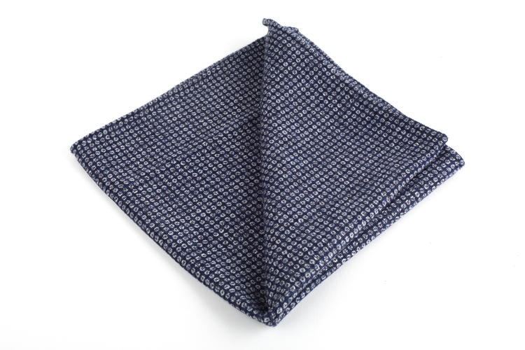 Wool Pin Dot - Navy Blue/White