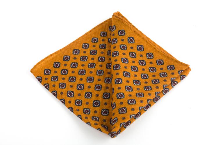 Wool Medallion - Orange/Navy Blue/Burgundy
