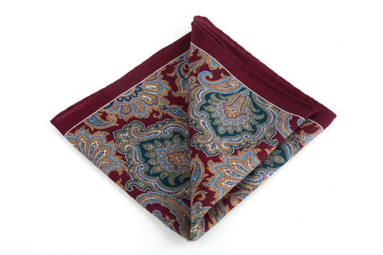 Wool Paisley - Burgundy/Green/Light Blue/Beige