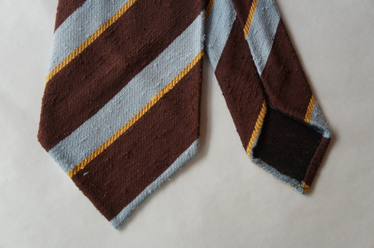 Regimental Shantung Tie - Untipped - Brown/Blue/Yellow