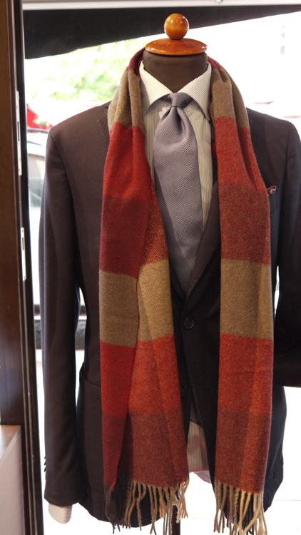 Plaid Wool Scarf - Burgundy/Grey