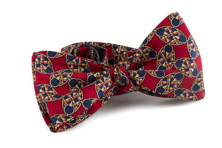 Self tie Silk Vintage Oval - Burgundy/Yellow/Navy Blue