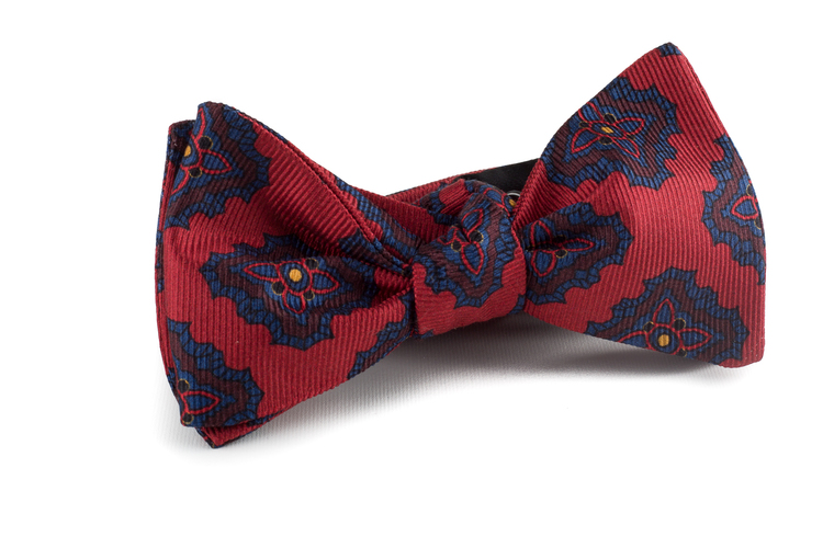 Self tie Silk Vintage Medallion - Red/Navy Blue