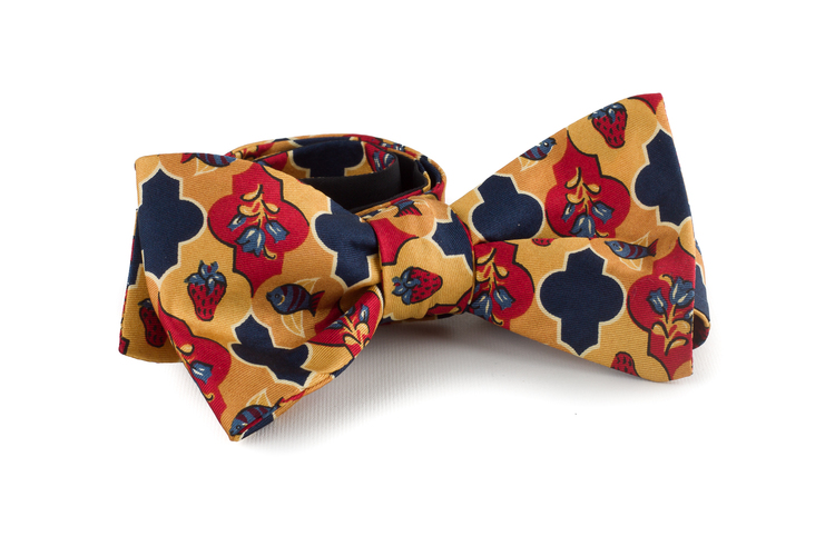 Self tie Silk Vintage Floral - Yellow/Navy Blue/Rust/Red