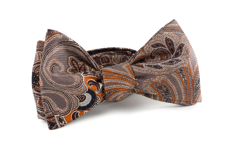 Self tie Silk Vintage Paisley - Rust/Grey