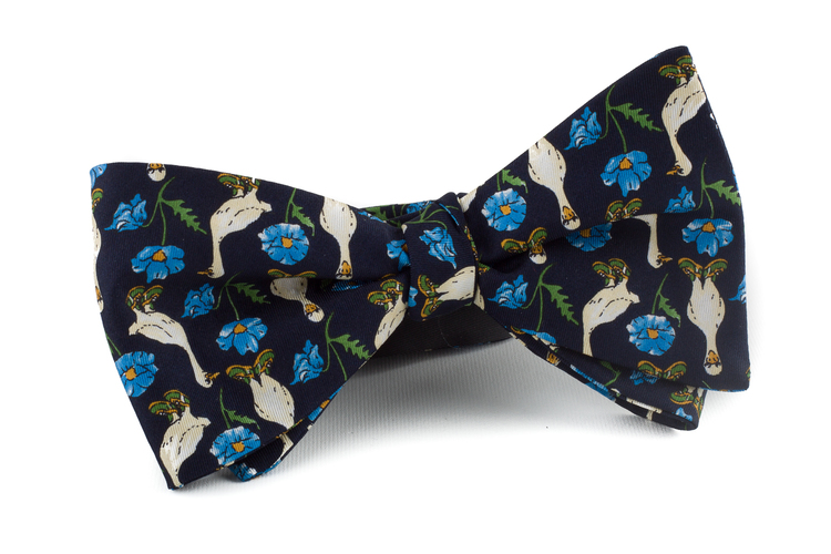 Self tie Silk Vintage Maarten Goose - Navy Blue/Light Blue/White/Green