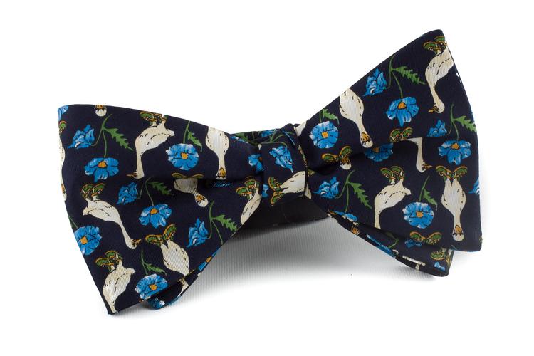 Self tie Silk Vintage Maarten Goose - Navy Blue/Light Blue/White/Green