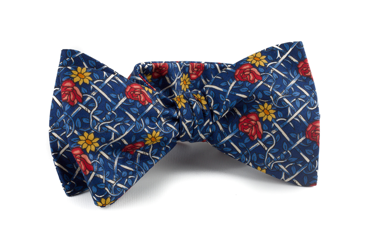 Self tie Silk Vintage Floral - Navy Blue/Light Blue/Red/Yellow