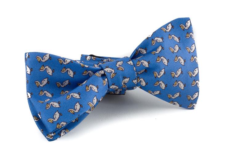 Self tie Silk Vintage Duck - Light Blue/Yellow/White