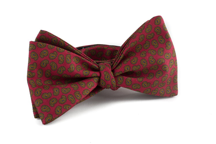 Self tie Silk Vintage Paisley - Red/Green
