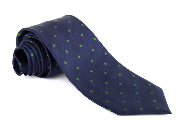 Silk Polka Dot - Navy Blue/Green
