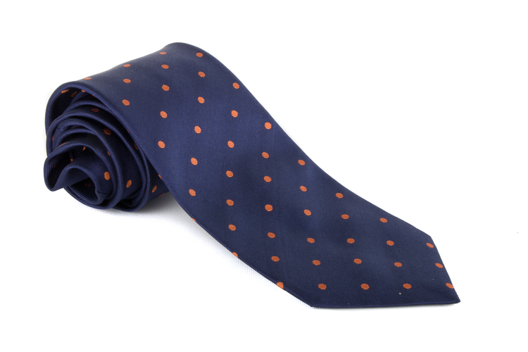 Silk Polka Dot - Navy Blue/Orange