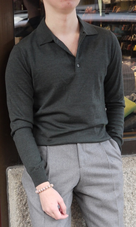 Polo Merino Pullover - Dark Green