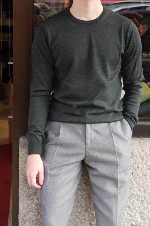 Crewneck Merino Pullover - Dark Green