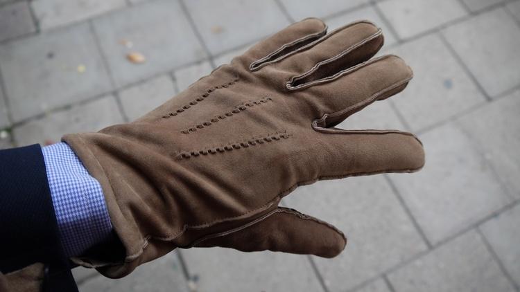 Suede Gloves - Cognac