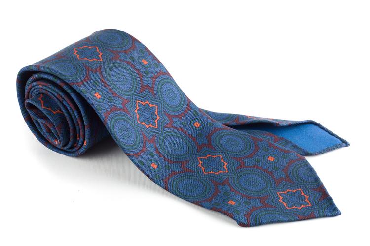 Medallion Ancient Madder Silk Tie - Untipped - Burgundy