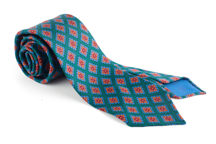 Medallion Ancient Madder Silk Tie - Untipped - Green