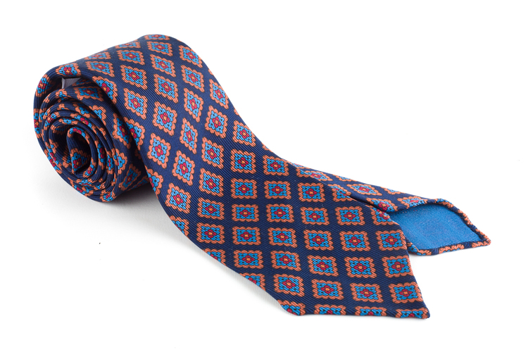 Medallion Ancient Madder Silk Tie - Untipped - Navy Blue