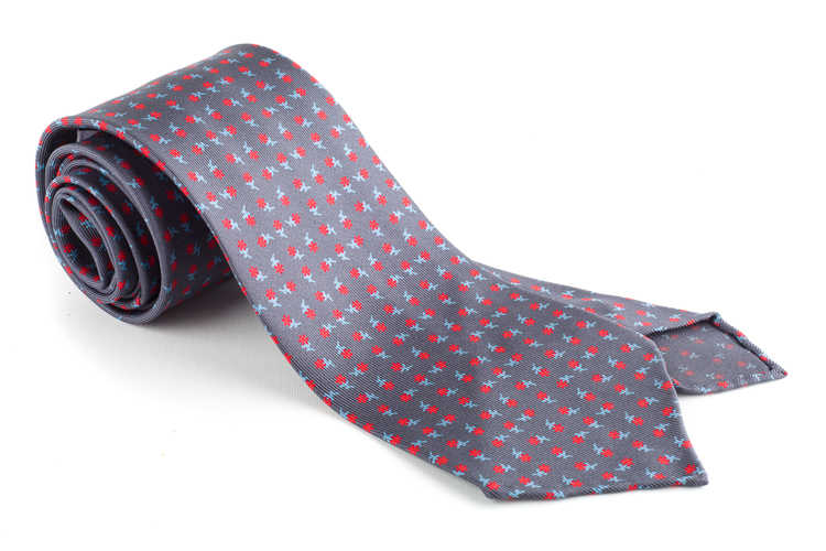 Printed Floral Silk Tie - Untipped - Grey/Red/White