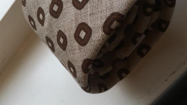 Medallion Printed Wool Tie - Untipped - Beige/Brown