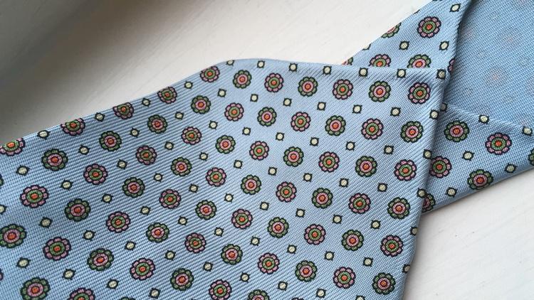 Floral Printed Silk Tie - Untipped - Light Blue/Green