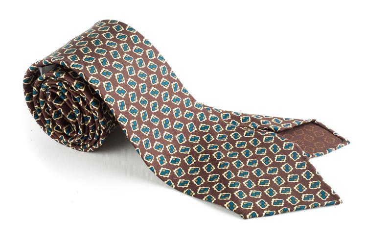 Diamond Printed Silk Tie - Untipped - Brown
