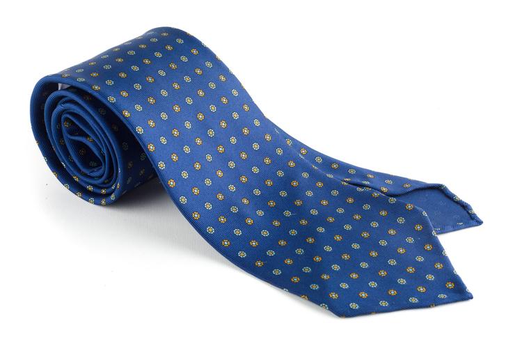 Floral Printed Silk Tie - Untipped - Mid Blue