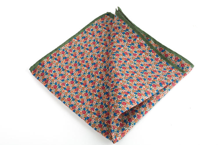 Floral Printed Silk Pocket Square - Green/Orange