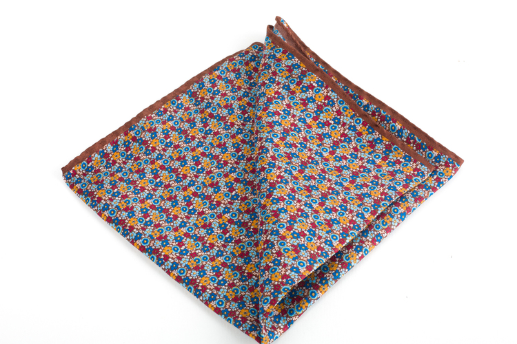 Floral Printed Silk Pocket Square - Brown/Blue