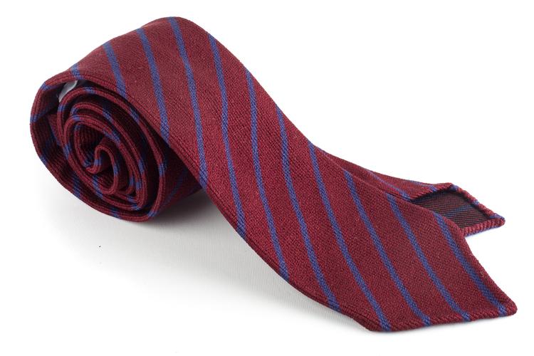 Wool/Silk Regimental Tie - Untipped - Burgundy/Navy Blue