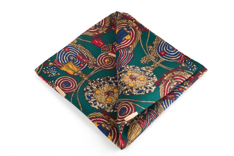 Natale Printed Silk Pocket Square - Green/Gold