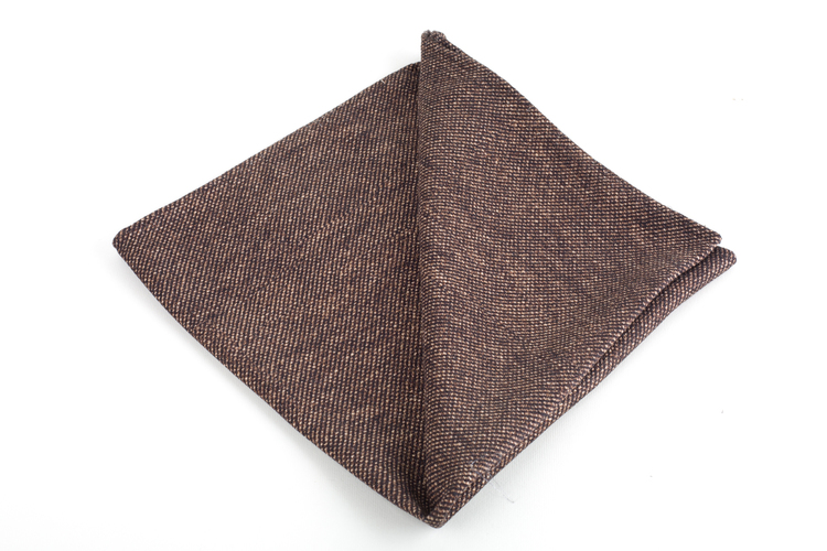 Solid Printed Silk Pocket Square - Beige