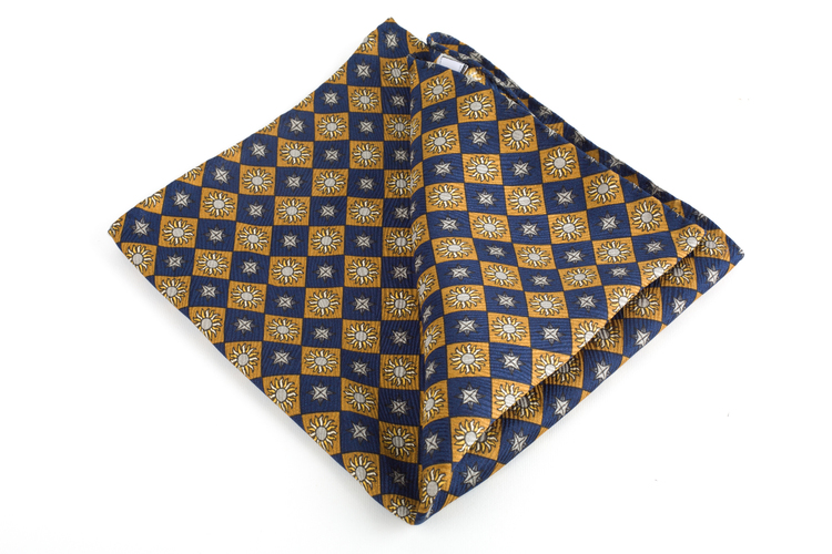 Sole Printed Silk Pocket Square - Vintage - Navy Blue/Yellow