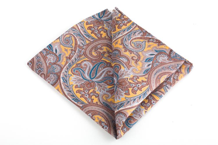 Paisley Printed Silk Pocket Square - Vintage - Yellow/Brown