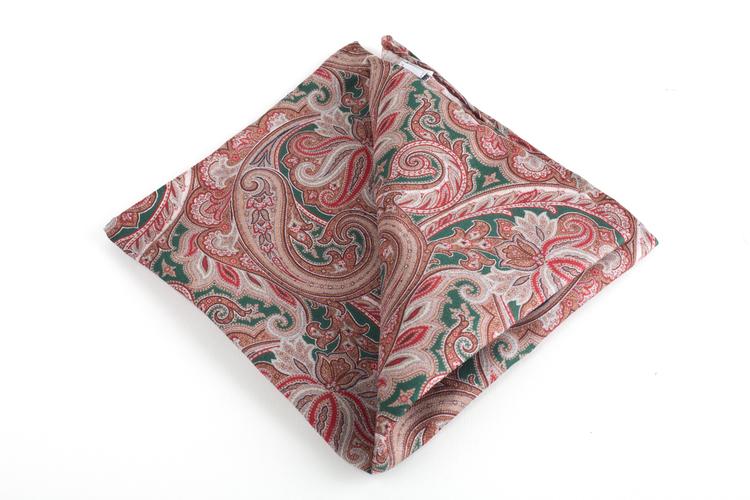 Paisley Printed Silk Pocket Square - Vintage - Green/Brown