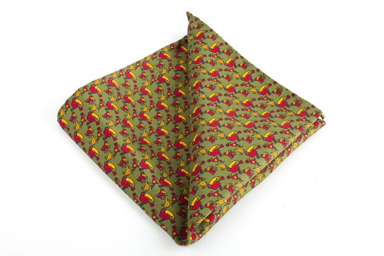 Tucano Printed Silk Pocket Square - Vintage - Green/Yellow