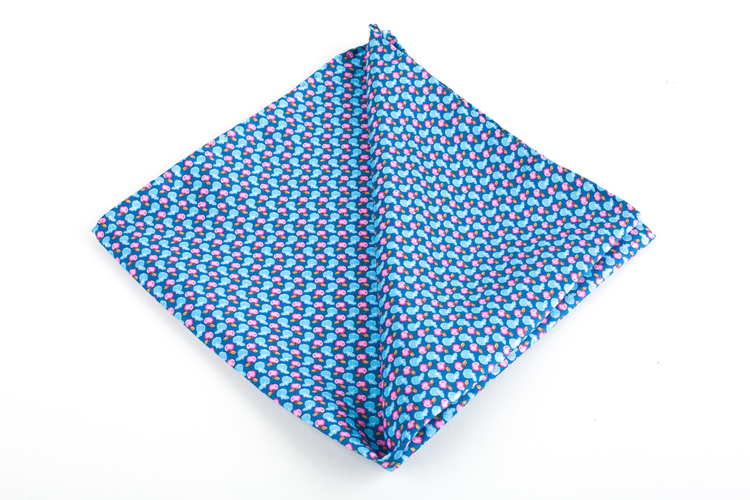 Mela Printed Silk Pocket Square - Vintage - Light Blue/Pink