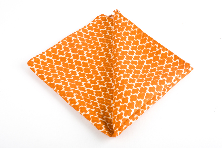 Trifoglio Printed Silk Pocket Square - Vintage - Orange/White