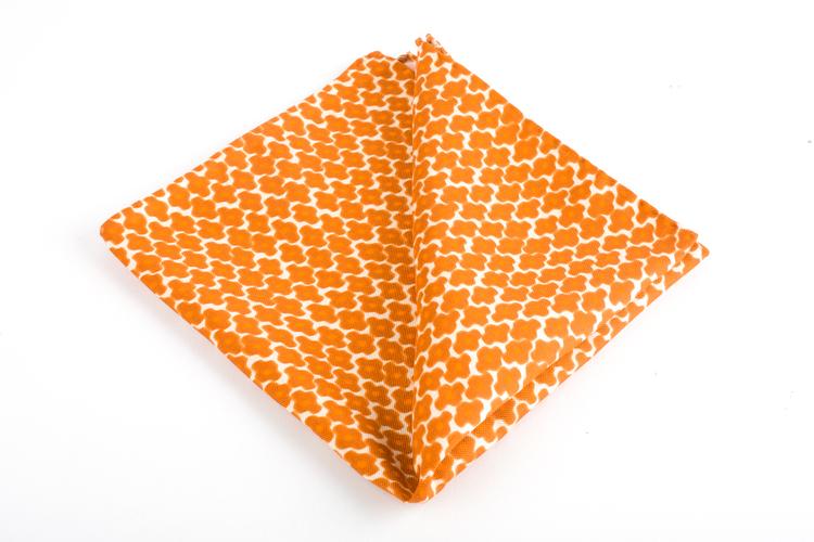 Trifoglio Printed Silk Pocket Square - Vintage - Orange/White