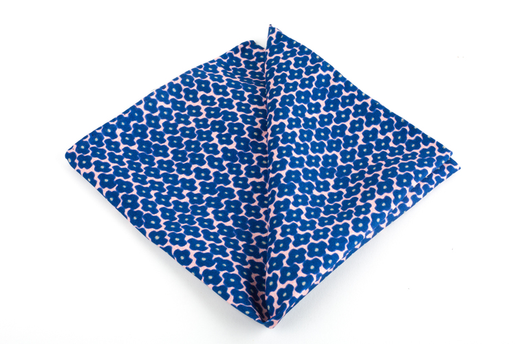 Trifoglio Printed Silk Pocket Square - Vintage - Navy Blue/Pink