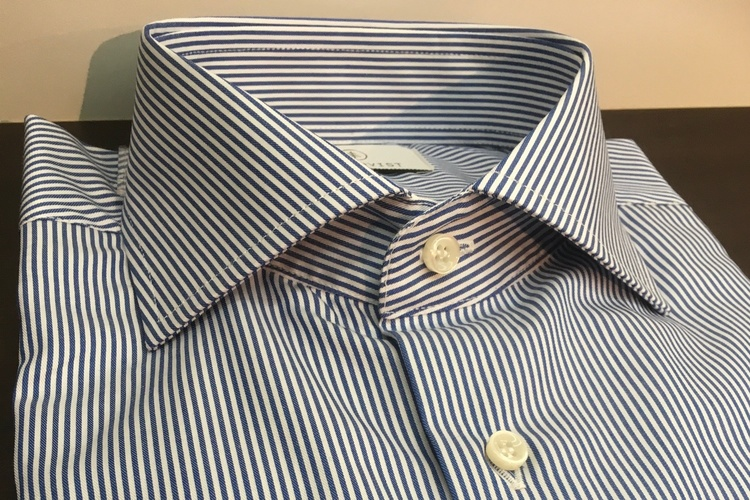 Bengal Stripe Twill Shirt - Cutaway - Navy Blue/White