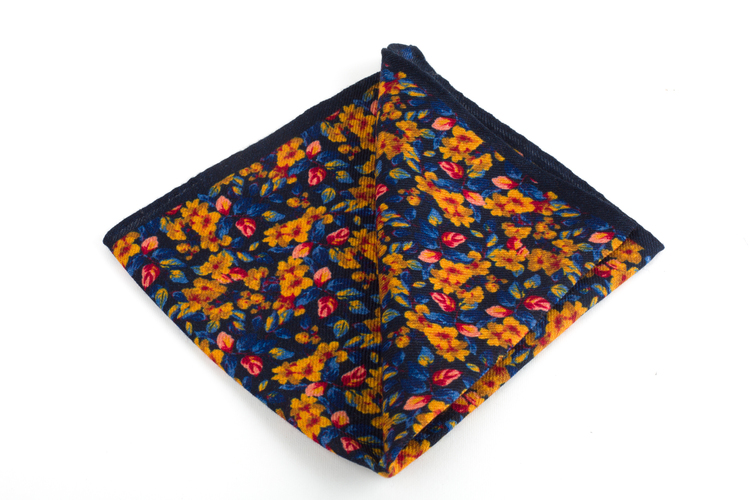 Auiola Printed Wool Pocket Square - Navy Blue/Yellow