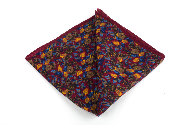 Auiola Printed Wool Pocket Square - Burgundy/Brown