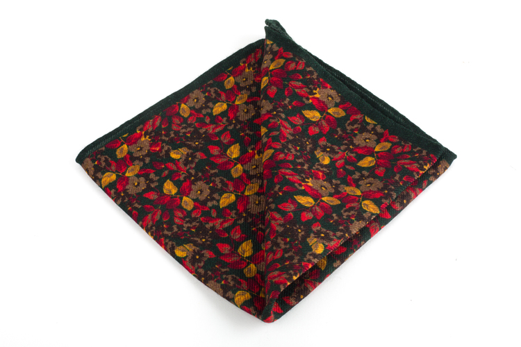 Auiola Printed Wool Pocket Square - Green/Rust