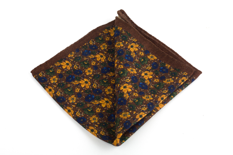 Auiola Printed Wool Pocket Square - Brown/Mustard
