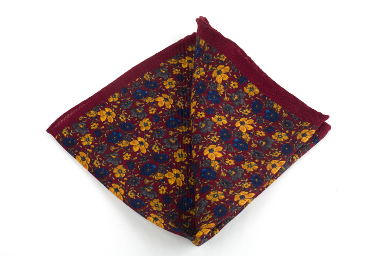 Auiola Grande Printed Wool Pocket Square - Burgundy/Mustard