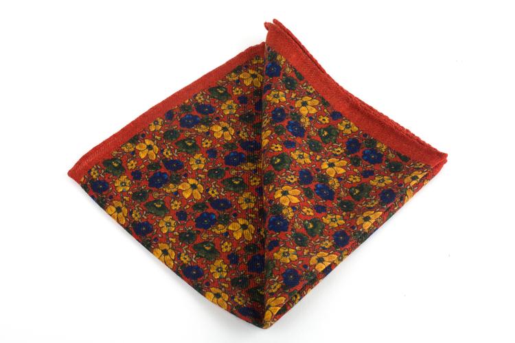 Auiola Grande Printed Wool Pocket Square - Orange/Mustard