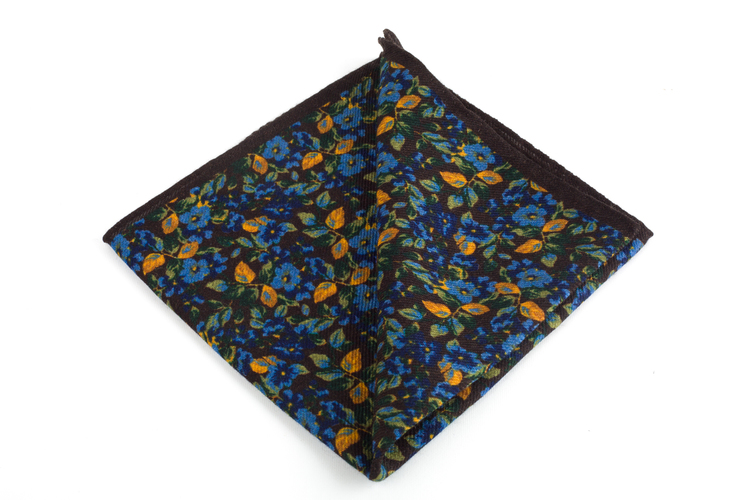 Auiola Grande Printed Wool Pocket Square - Brown/Blue