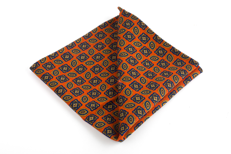 Medallion/Micro Wool Pocket Square - Double - Orange/Blue/Beige